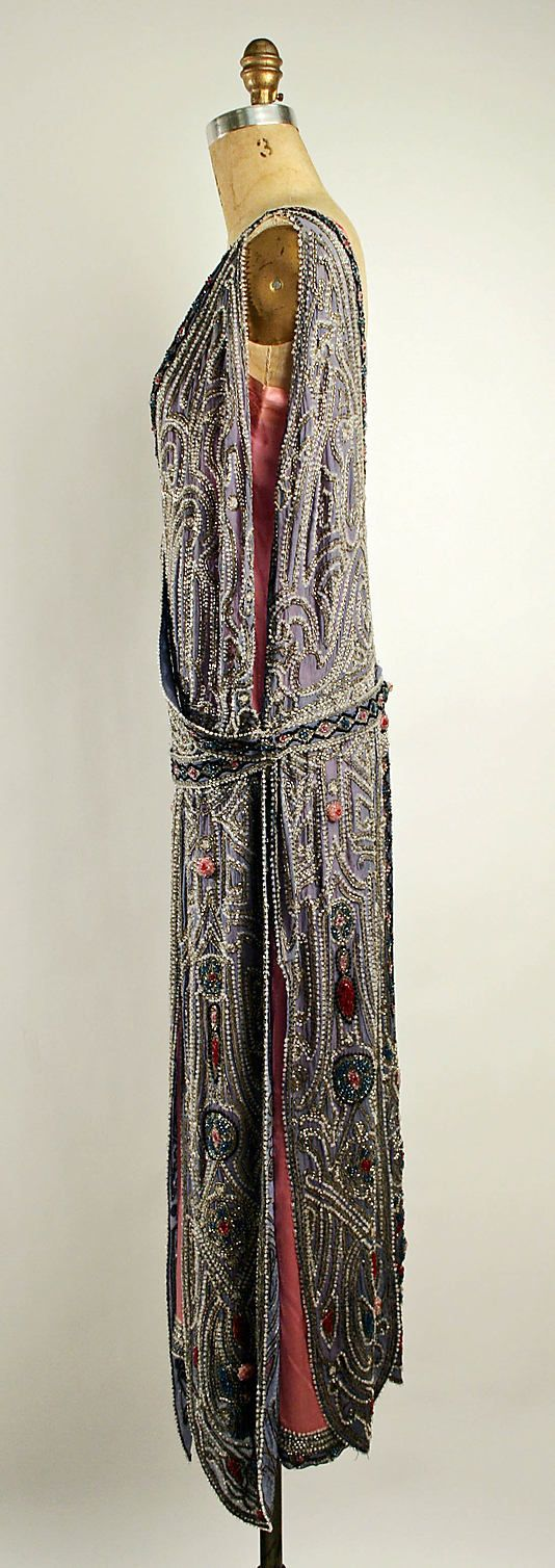 ~Evening dress House of Lanvin  (French, founded 1889)   Designer: Jeanne Lanvin (French, 1867–1946) Date: spring/summer 1923 Culture: French Medium: silk, metallic thread, glass beads~