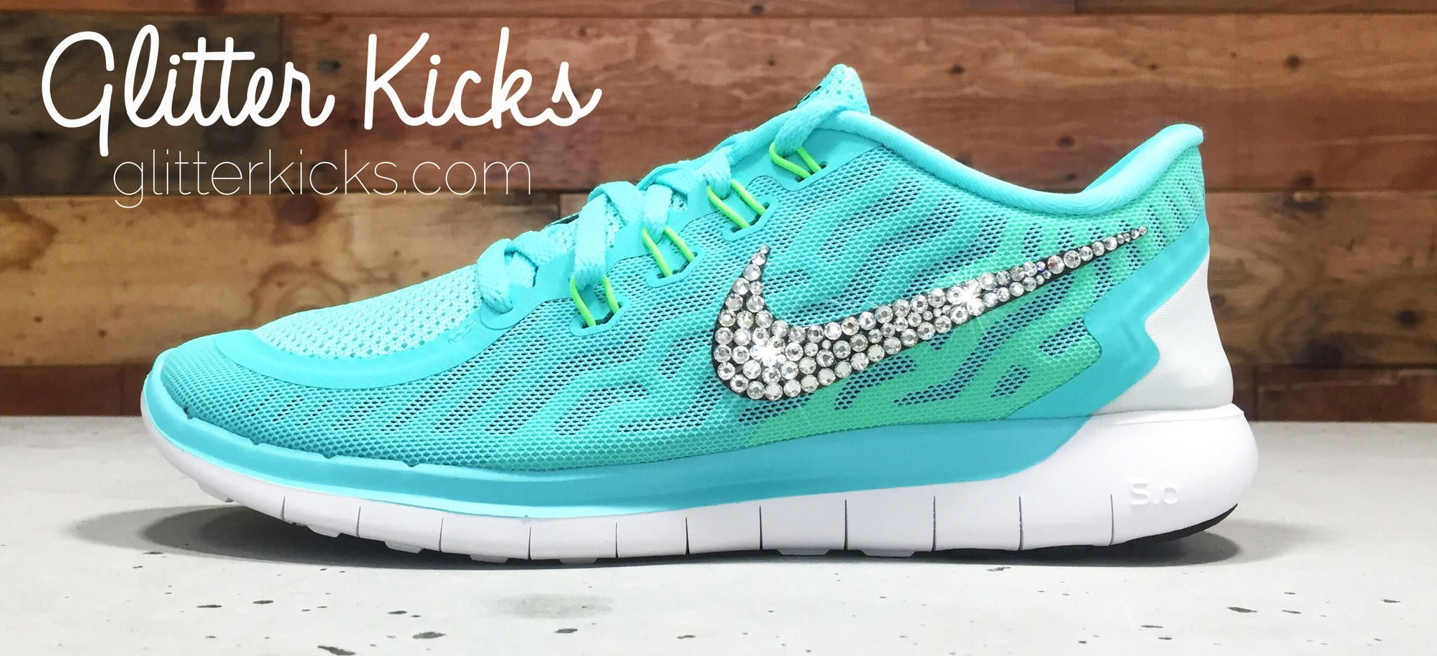Women s Nike Free 5.0 Running Shoes By Glitter Kicks - Hand Customized With  Swarovski Crystal Rhinestones 54d1c960e652
