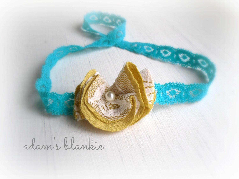 Drop of golden sun pearl rosette headband cream turquoise