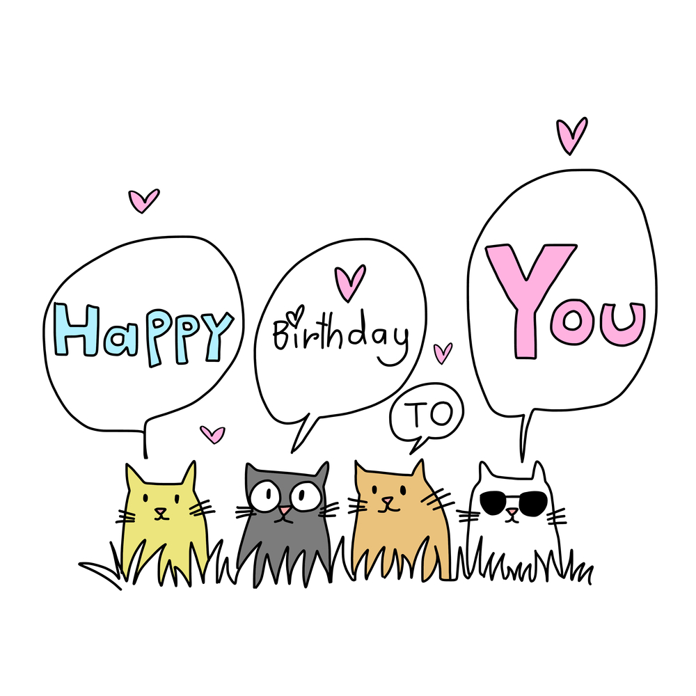 Happy Birthday Card Cat Lover Several  Happy birthday cat cards