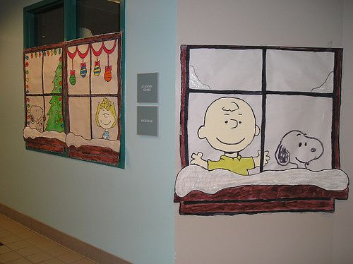 Office Christmas Decorations Window Decoration And Charlie Brown