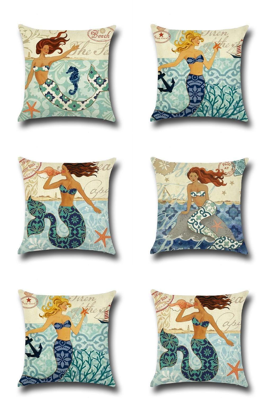 Visit to buy cammitever cartoon mermaid cushion cover x home