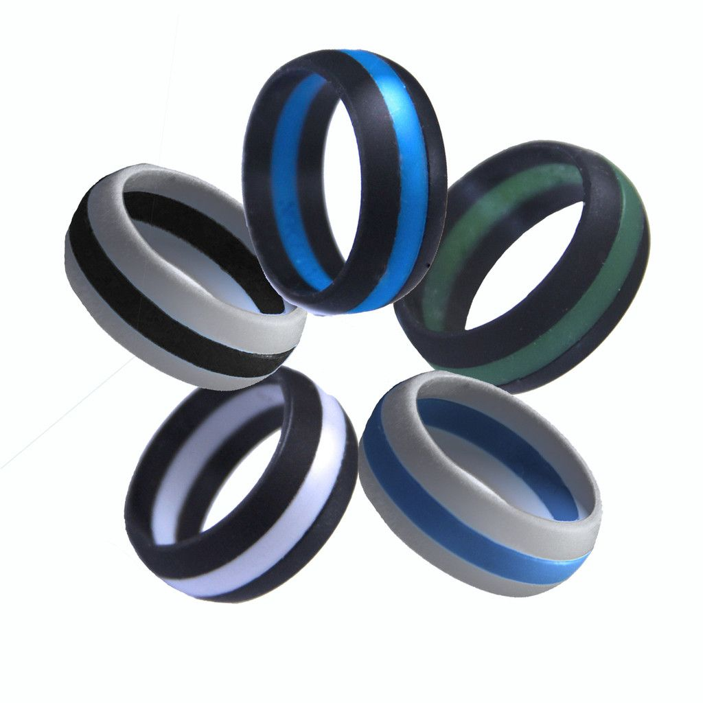 Mens Athletic Silicone Striped Rings Simply cool ideas