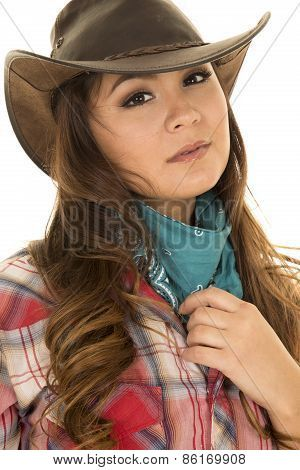 Image Of Cowgirl Looking Side Holding Bandana