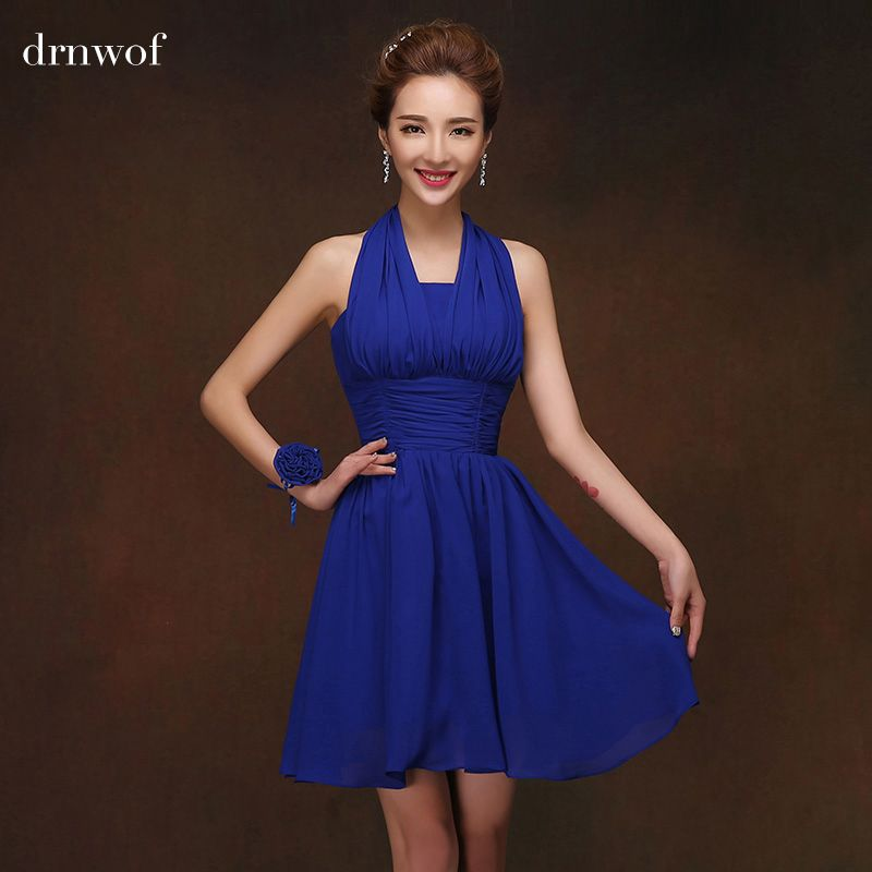 Short Bridesmaid Dress Quality Dresses Directly From China Suppliers Halter Royal Blue
