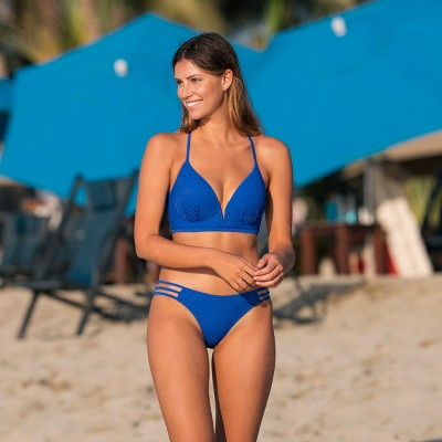 a32e97b323 Women's Dream Lightly Lined V Wire Textured Bikini Top - Shade & Shore  Scuba Blue 36DD