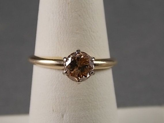 Cognac Diamond Solitaire Ring.75Carats 2.4gm by estatejewelryshop