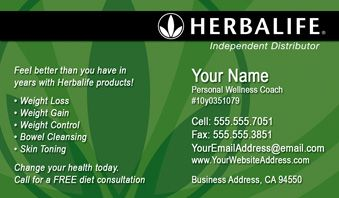 Herbalife business cards include free set up, shipping and tax.