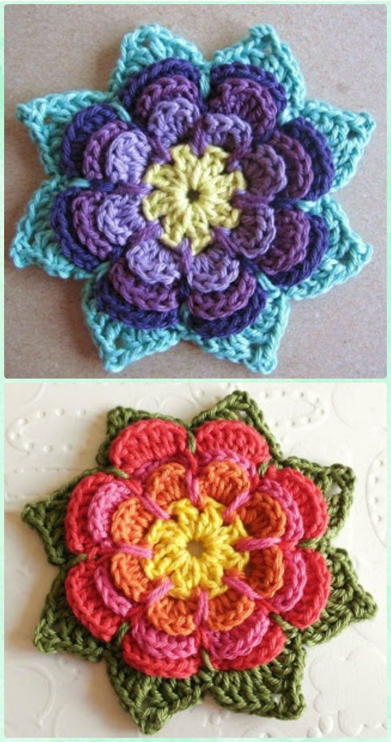 Crochet 3D Flower Motif Free Patterns & Instructions | Blumen häkeln ...