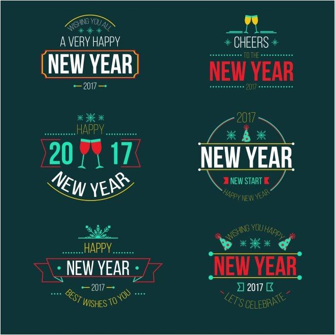 free vector happy new year 2017 labels badges httpwwwcgvector