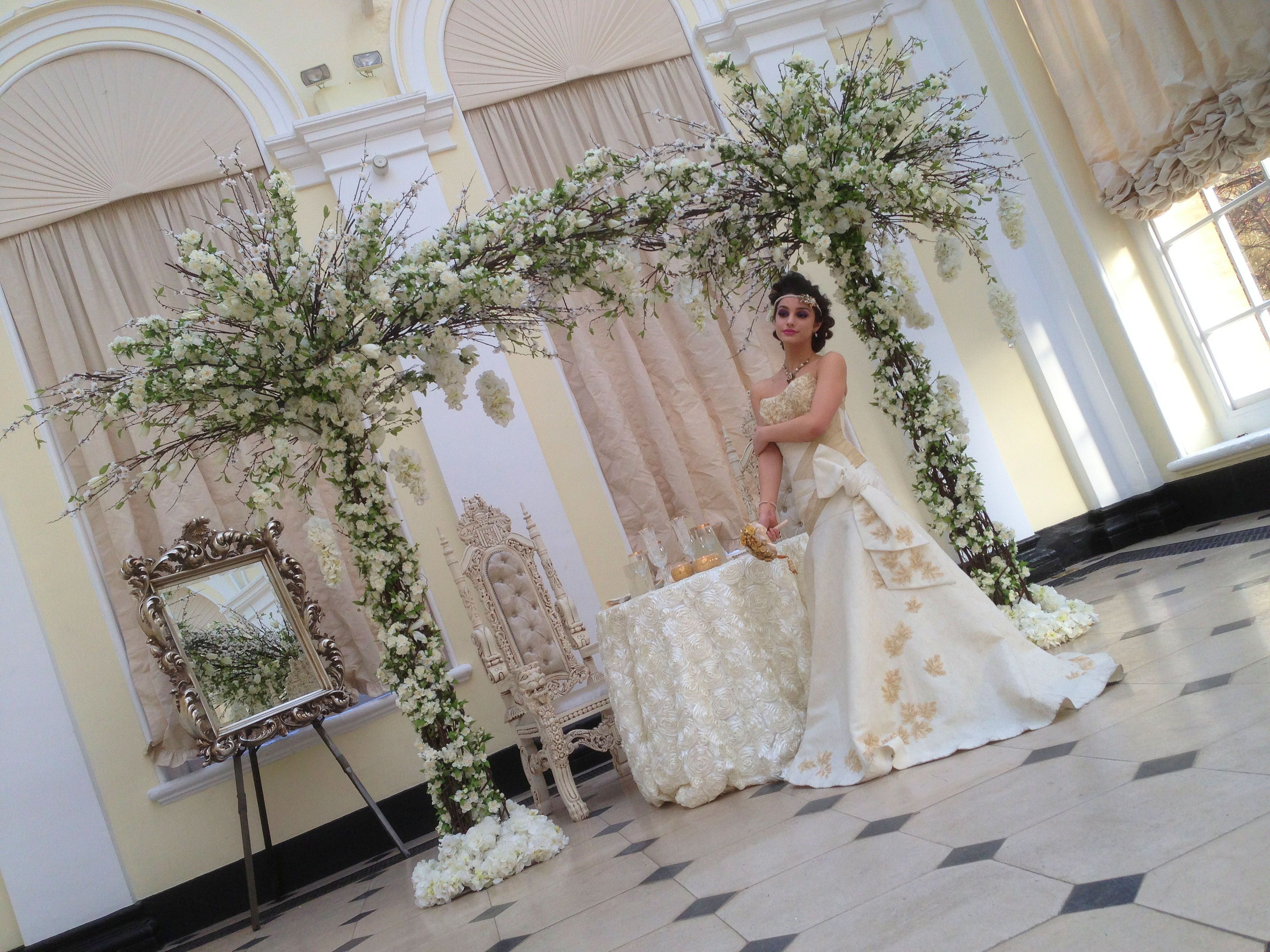 Romantic flower archway by Essential Wedding Hire