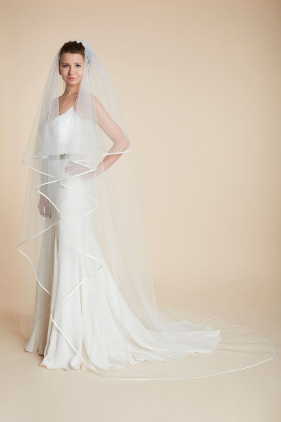 Two Tier Bridal Veil,Custom veil,Veil Bridal with satin Ribbon Circle Veil Ribbon edge,Hip Length,2 tier veil,white veil,white tulle veil