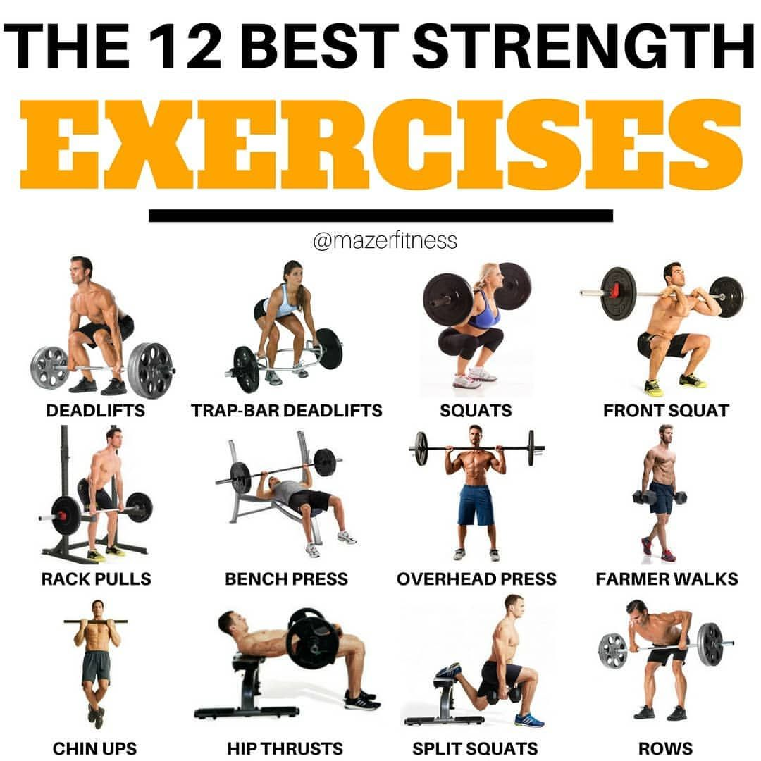 The 12 Best Strength Exercises Well The Best Yeah I Think These Are The Best You Might Have A Strength Workout Workout Machines Weight Training Workouts