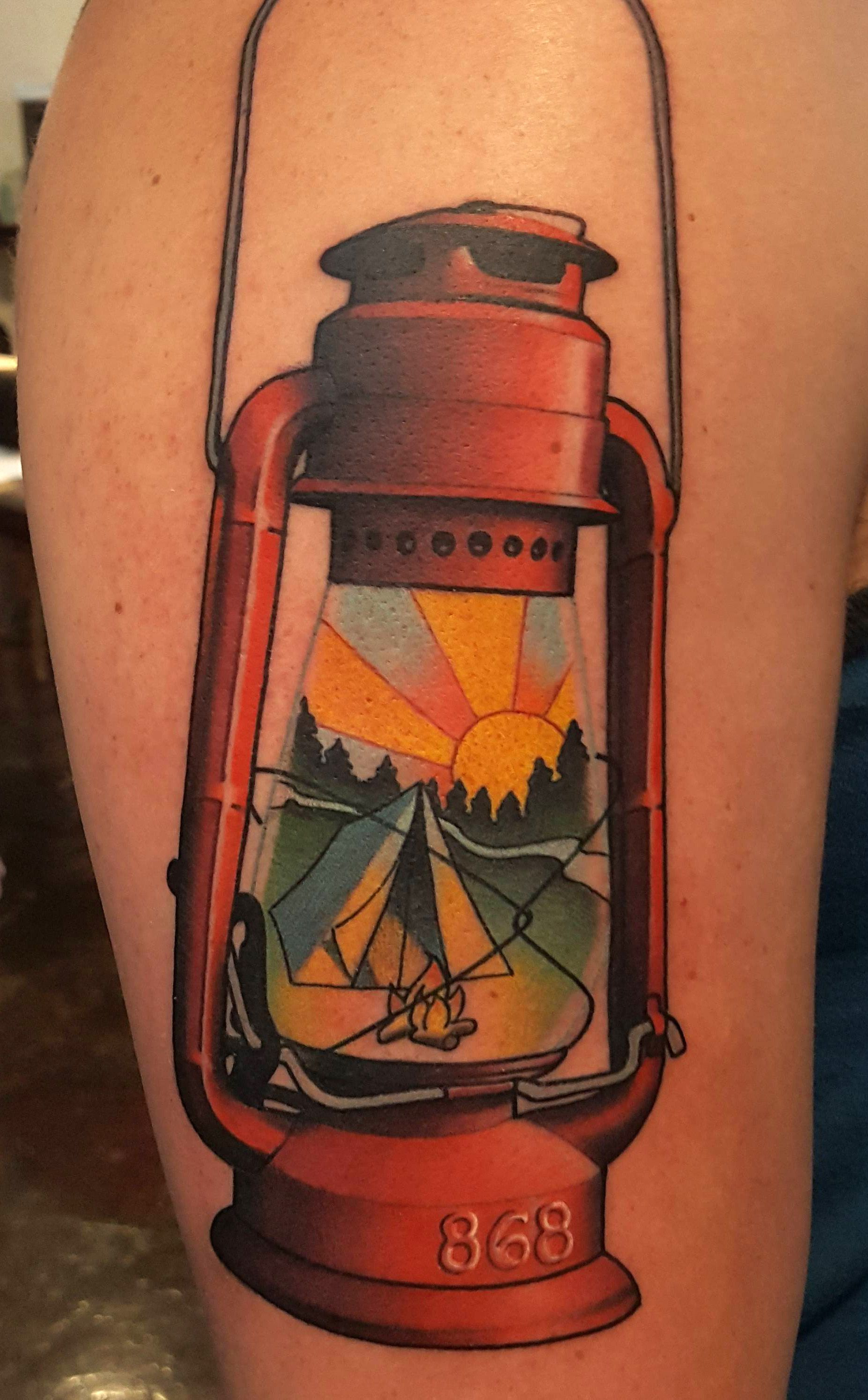 Camping Lantern Tattoo By Brad Dozier At Black 13 In Nashville Tn Lantern Tattoo Camping Tattoo Outdoor Tattoo