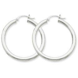 Reviews - 14k White Gold 3mm Round Hoop Earrings. Gold Weight- 2.93g 35mm Diameter.