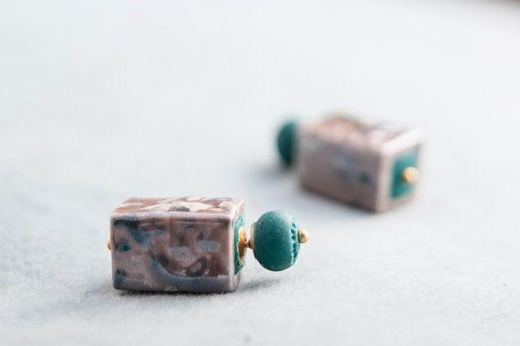 Square Stud Earrings Double Pearl Earrings Double by candyfoxx