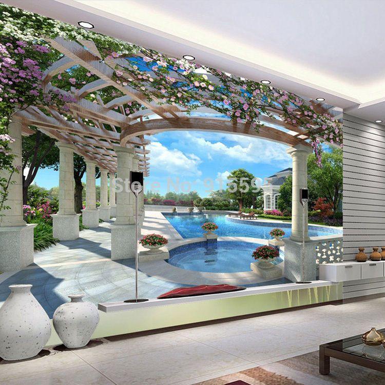 3D Wallpaper Bedroom Living Mural Roll Swimming Pool Luxury Wall ...