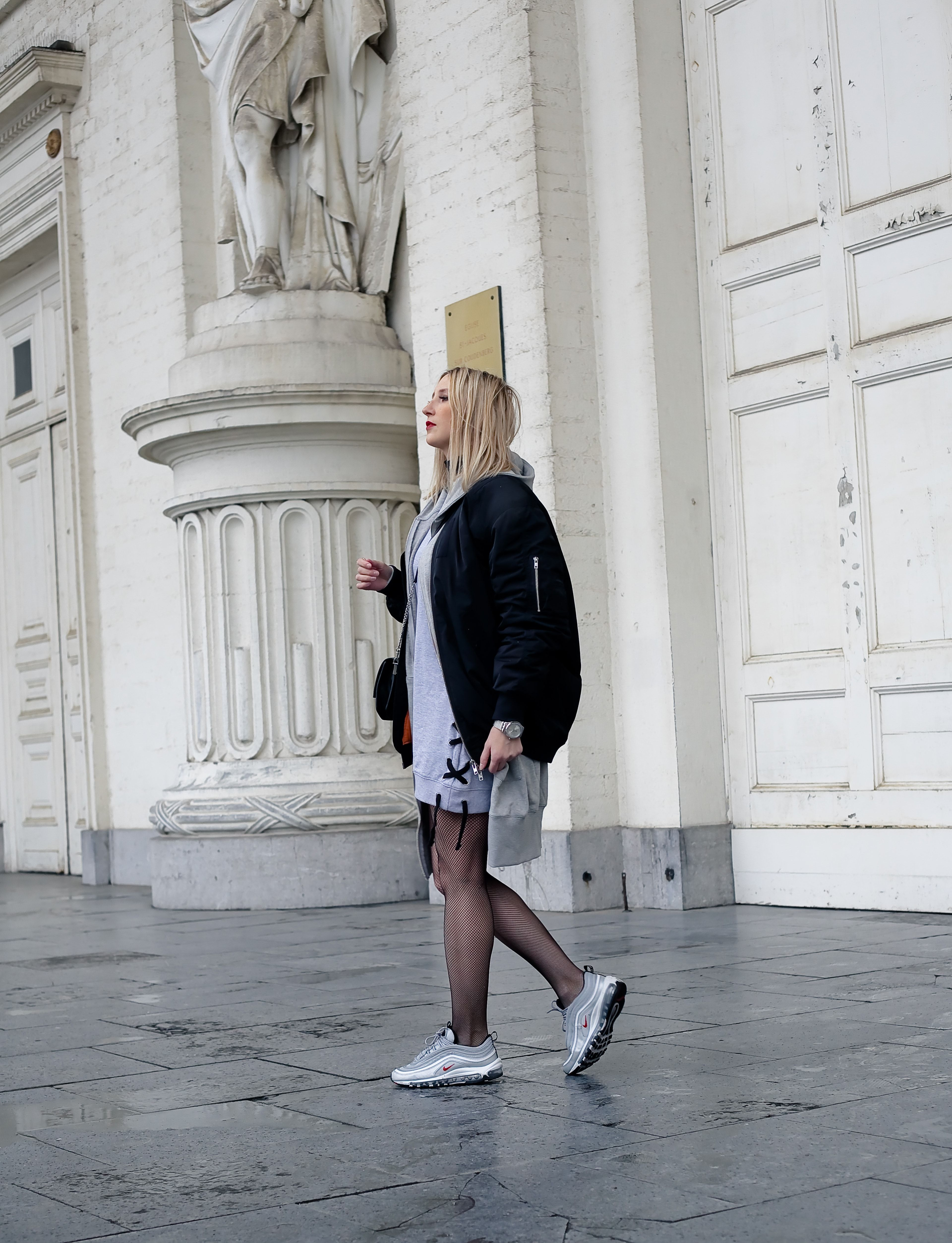 oversized bomber and nike air max 97 bullet silver | story