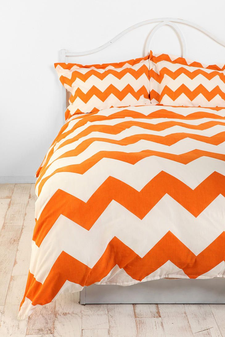 zigzag duvet cover  chevron bedding orange chevron and grey chevron - duvet · orange chevron bedding