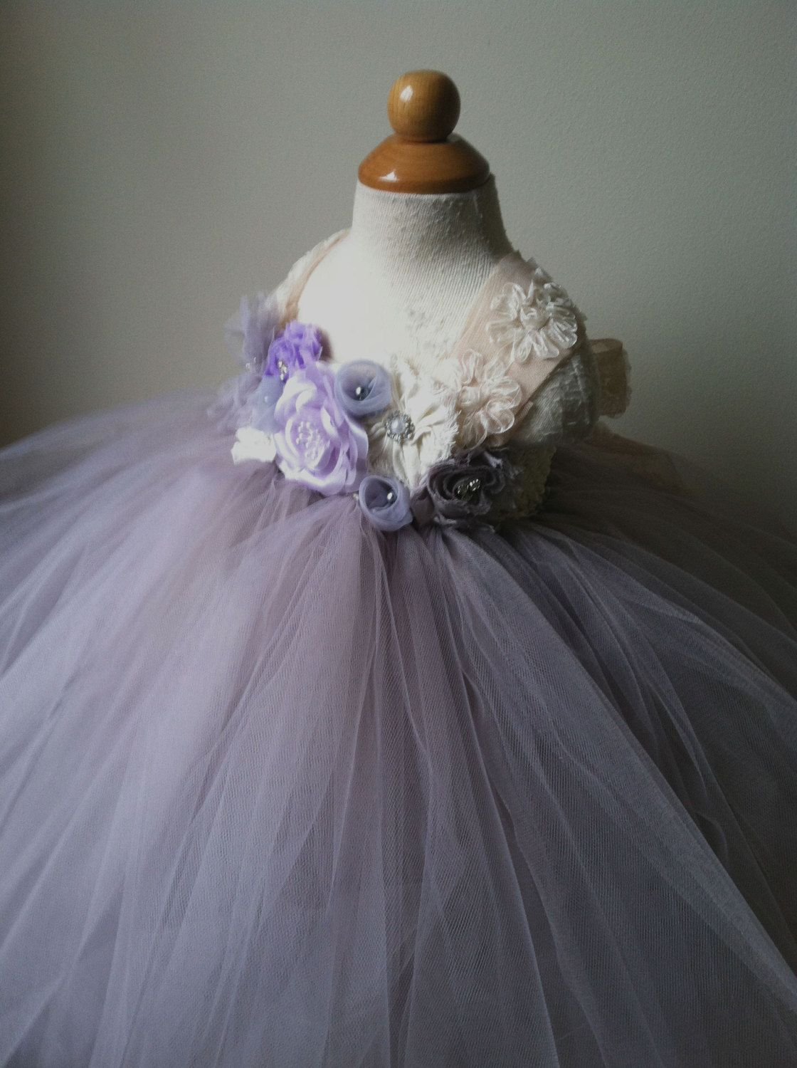 Flower girl dress silver lavender ivory gray tutu