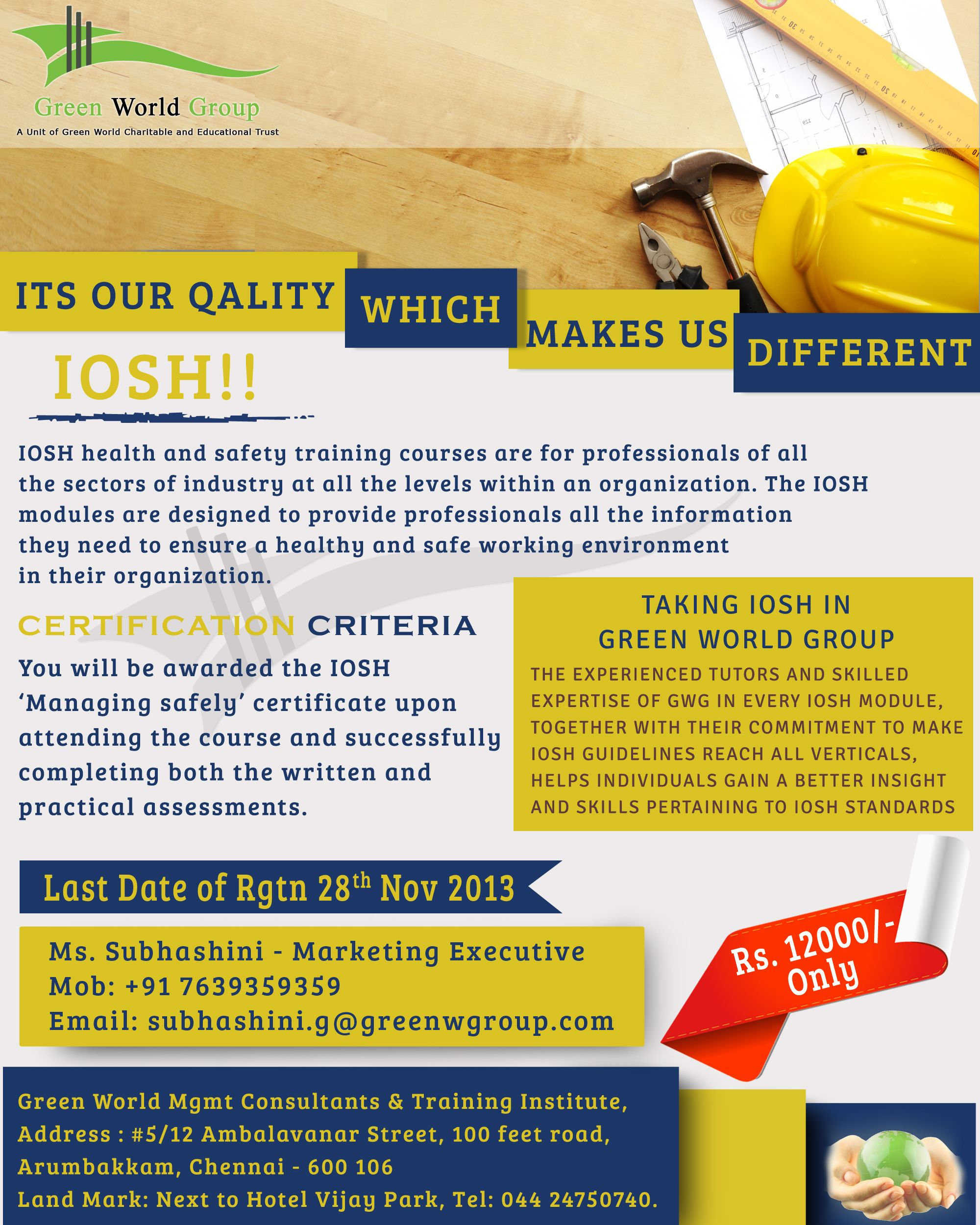 Green World Group Is Now Offered For Iosh Managing Safely Courses In