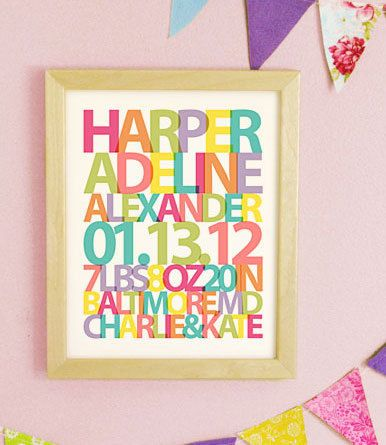Baby Name Print, Girls Nursery Wall Art, Baby Birth Stats Print, New ...