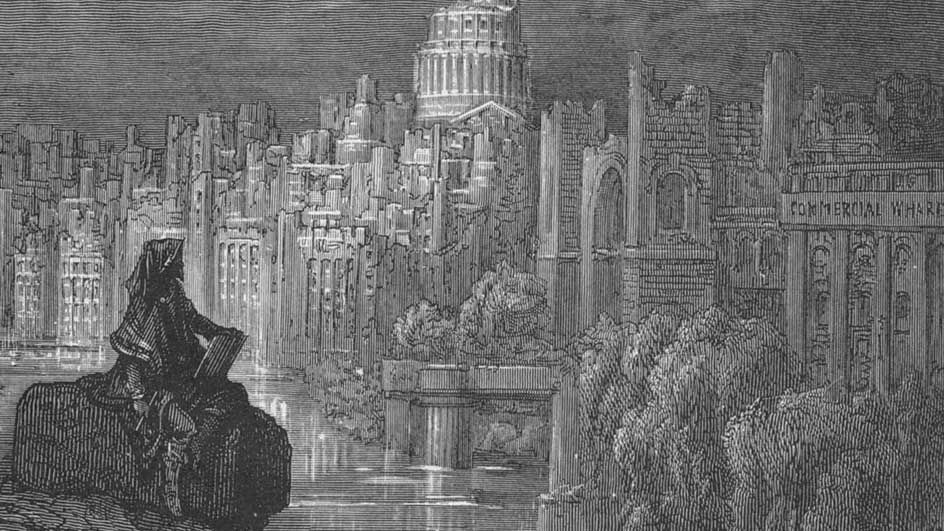 """Detail from The New Zealander, 1872, by Gustave Dore. By 1865 Punch magazine, referring to Macaulay's (1840) reference to """"some traveller from New Zealand [who] shall, in the midst of a vast solitude, take his stand on a broken arch of London Bridge to sketch the ruin of St Paul's"""", declared that """"Macaulay's New Zealander"""" headed the list of a number of clichés that were henceforth to be outlawed as """"used up, exhausted, threadbare, stale and hackneyed"""""""