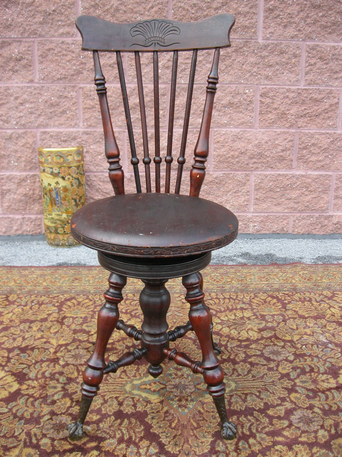Antique 1800s Victorian High Back Piano Stool Swivel Seat
