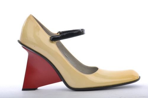 Prada mod Cream mary jane with red wedge heel, F/W 1998