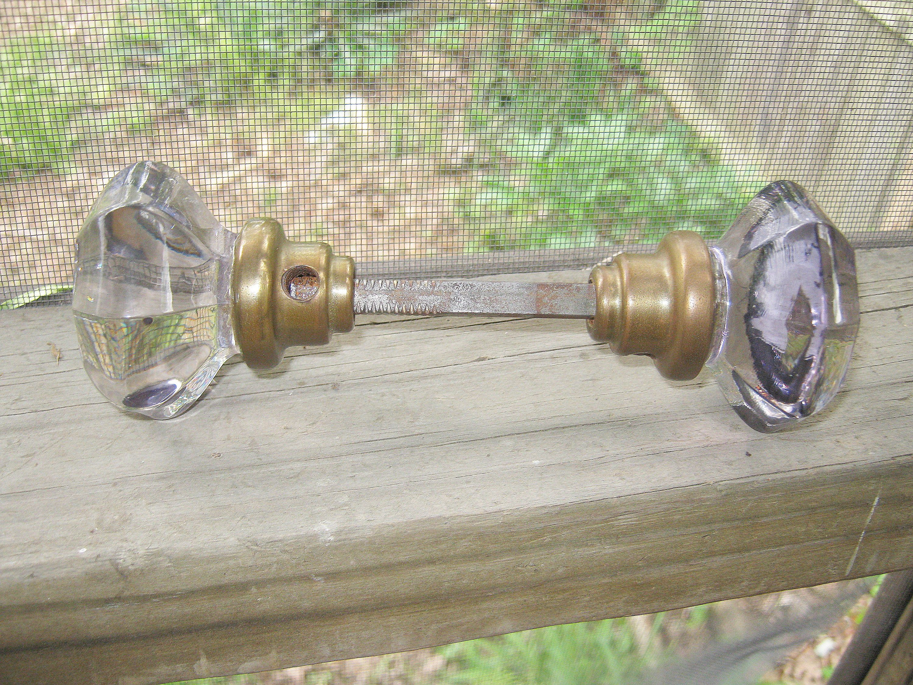 Glass Door Knob Set, Lavender Tinted Glass, Brass Metal, Vintage Home  Decor, 1940u0027s Hardware, Vintage Lavender Glass