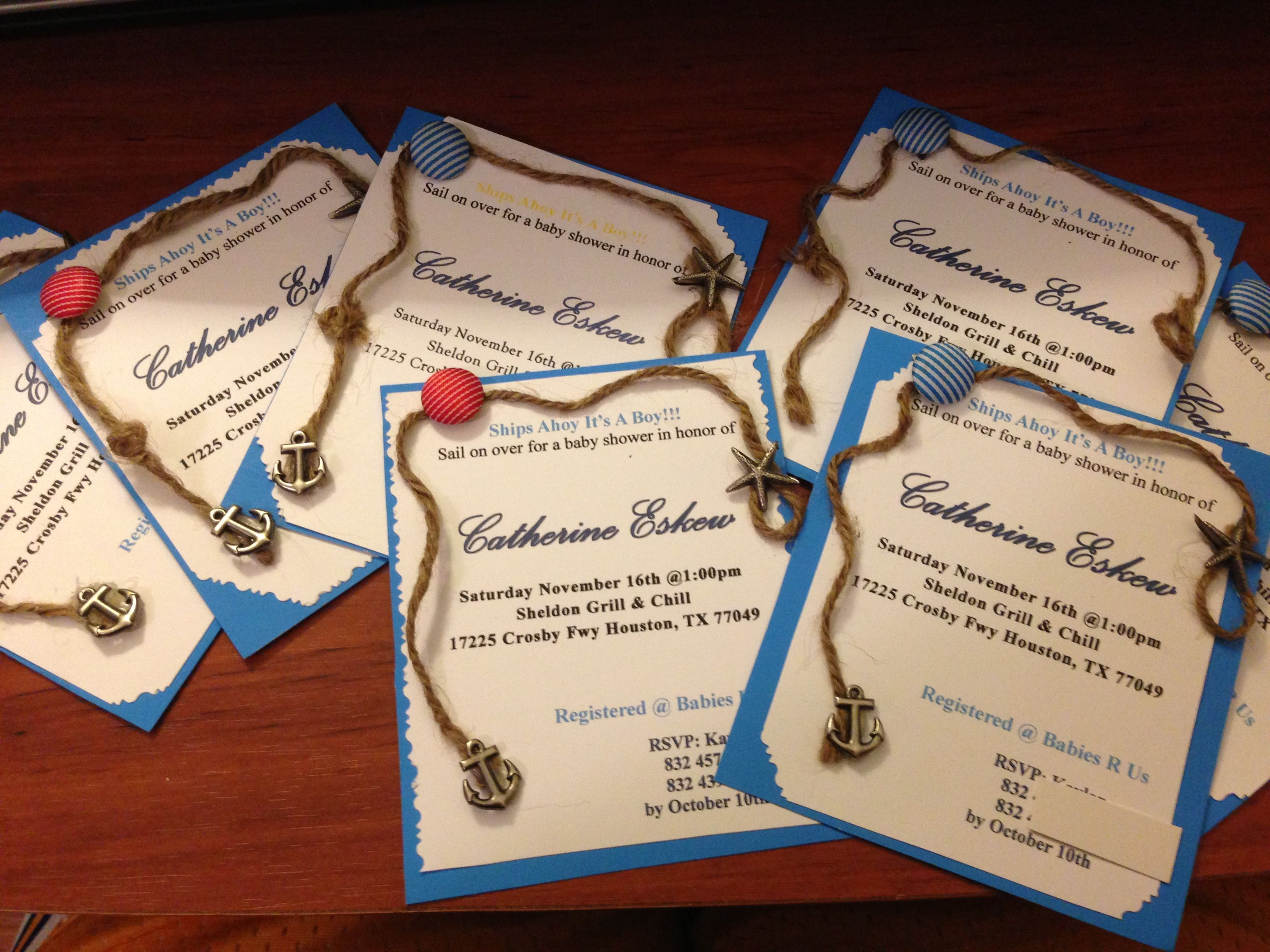 Homemade nautical baby shower invitations diy nautical baby homemade nautical baby shower invitations diy nautical filmwisefo
