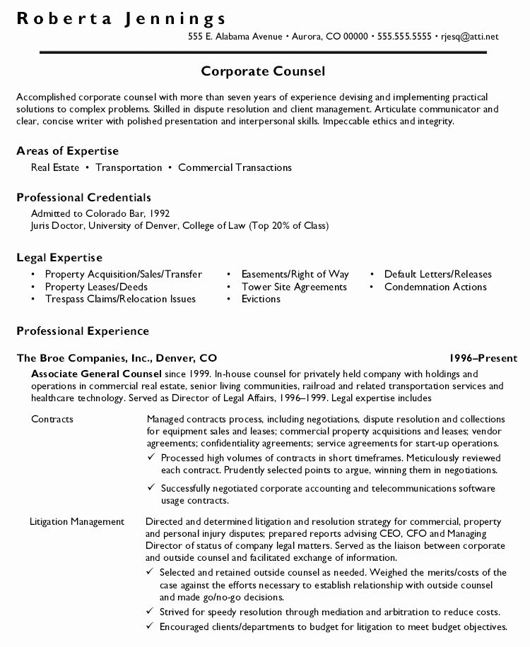 Entry Level attorney Resume Unique Inside Corporate