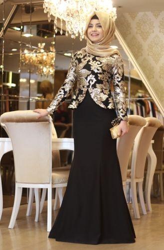 Dantelli Tesettur Abiye Elbise Dantel Desenli Parlak Kapali Kiyafetler Soiree Dress Muslimah Dress Hijab Evening Dress