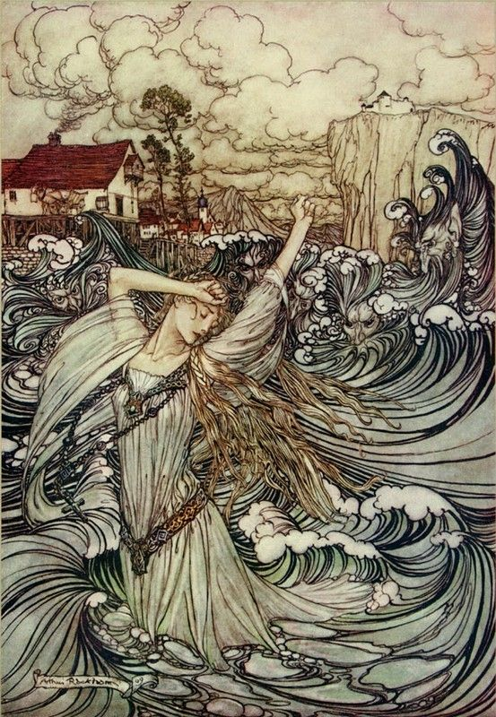 Arthur Rackham.    This picture is an almost perfect rendition of this song.   Cruel Sister by: Pentangle  http://www.youtube.com/watch?v=P3S2brPXjEM=share=PLA424E76A02ACDBB3        This is one of my all-time favorite groups.  Enjoy!!!!  --Ebony