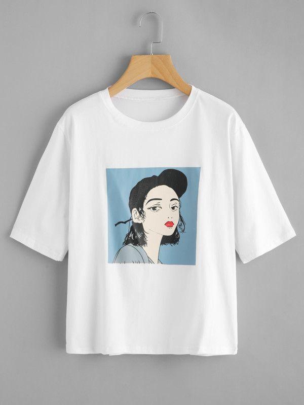 bc39654c8 Camiseta estampada de chica-Spanish SheIn(Sheinside) | outtfits ...