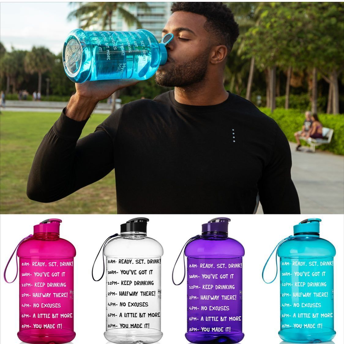 Check Out The Half Gallon Bottle 10 Colors To Choose From Hydromateusa In 2020 Motivational Water Bottle Drinks Water Bottle With Times