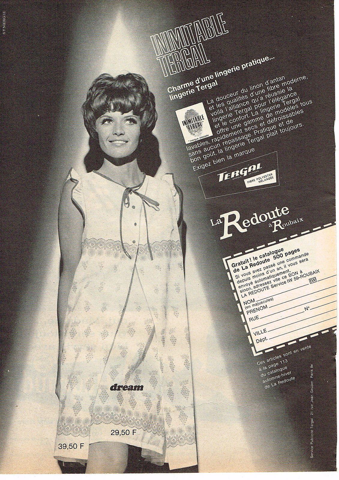 publicite advertising 054 1966 la redoute lingerine de nuit dream