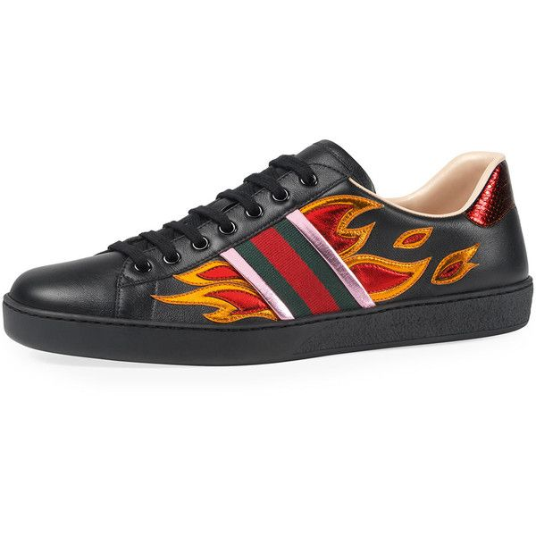55c6ff2f98c Gucci New Ace Flames Leather Low-Top Sneaker (2.240 BRL) ❤ liked on ...
