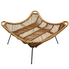 Large Rattan Amp Iron Coffee Table In Style Of Janine