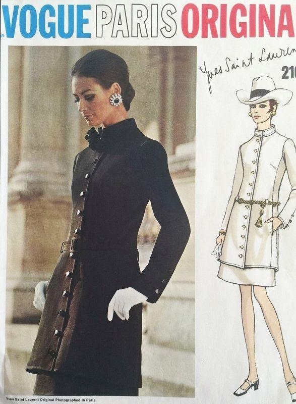 1960s MOD YSL Tunic Suit Pattern VOGUE PARIS Original 2107 Yves ...
