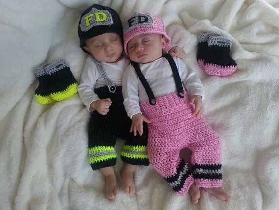 313086b81 FREE+SHIPPING+Twin+Baby+Firefighter+Fireman+by+CarynsYarnBasket,+$ ...