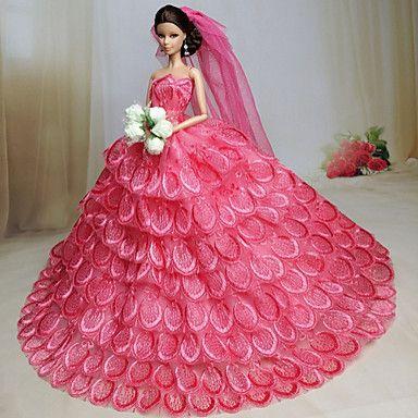Fiesta/Noche Vestidos por Muñeca Barbie Tela de Encaje Organdí ...