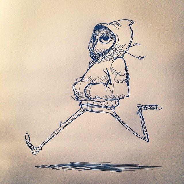 Jog time #dailydoodle #dailysketch #sketch #owl #sneakers