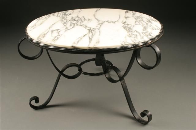 Antique French Iron Marble Top Tea Table, Circa 1895. #antique #marble #