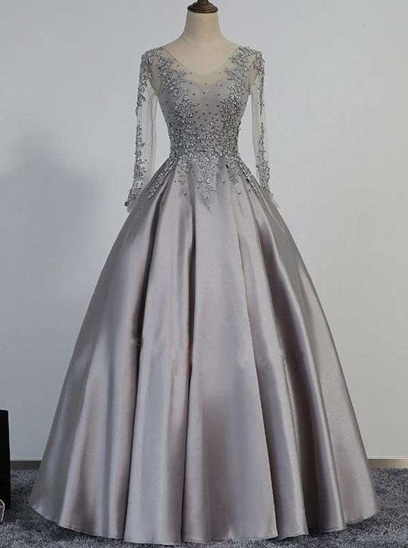 c304a5f407 Prom Dress with Long Sleeves,Corset Prom Dress,Satin Prom Dress ...