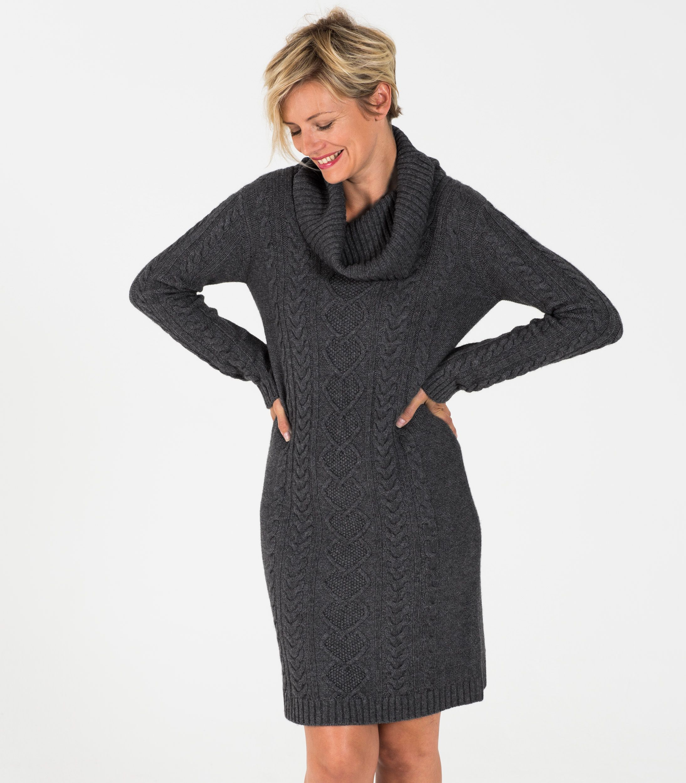 This women's cowl neck sweater dress made from cashmere &amp ...