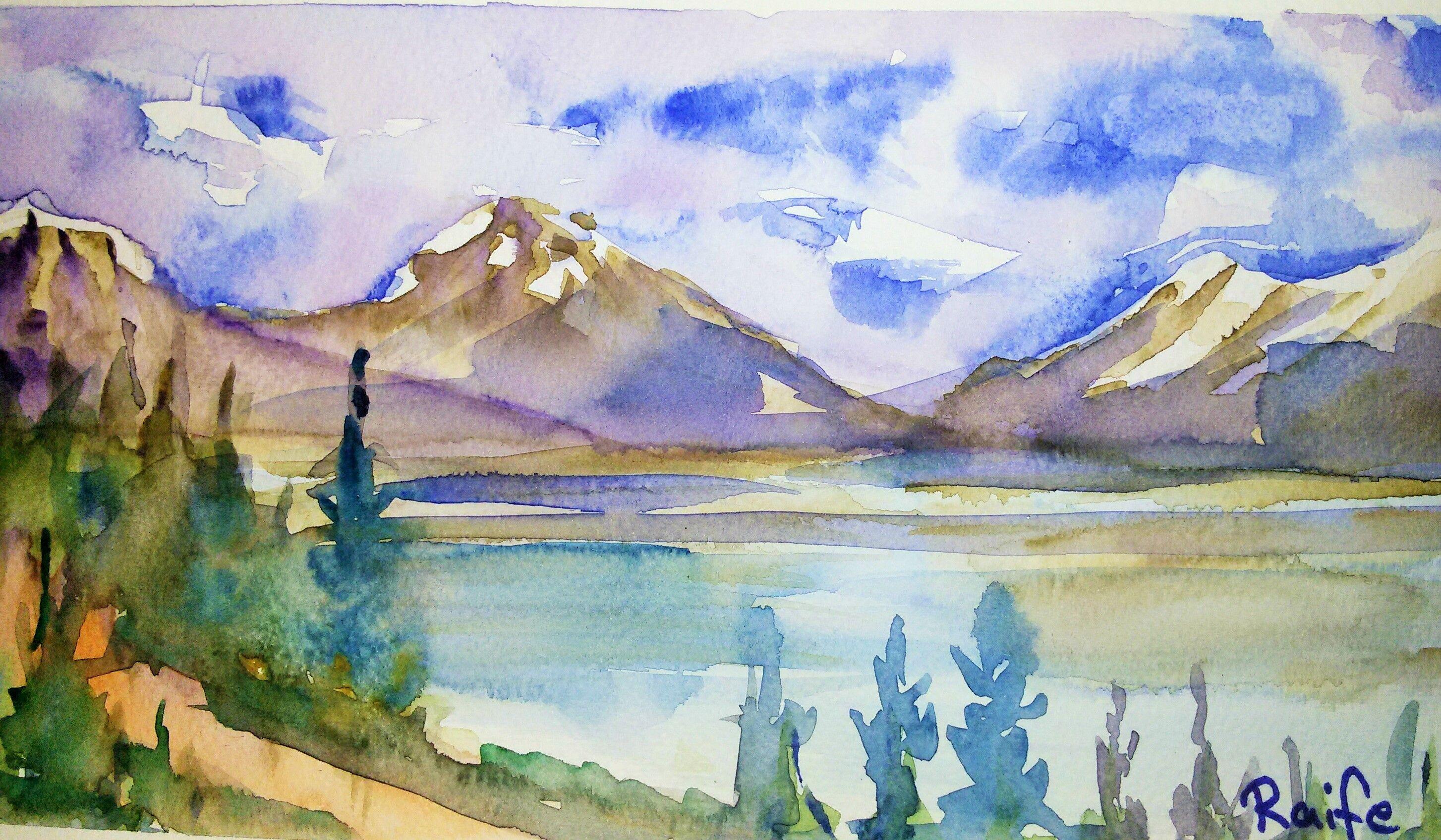 Karli Daglar By Raife Parlak Suluboya Watercolor Original Snowymountain Painting Art Design
