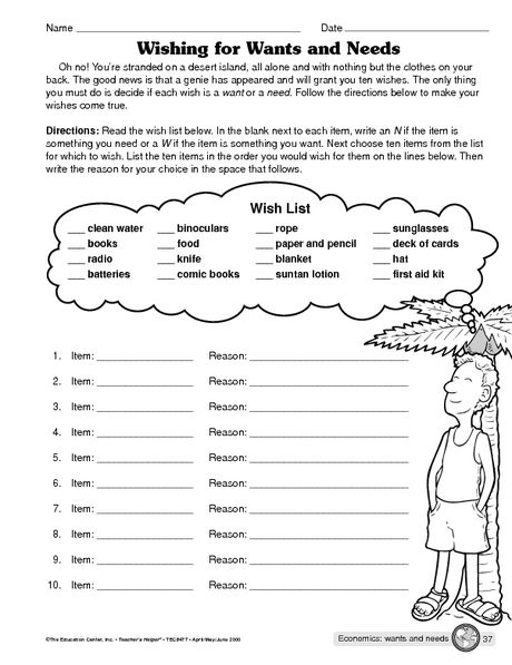 Social Studies Worksheet Wants And Needs The Mailbox Financial Literacy Worksheets Girl Scout Activities Girl Scout Badges Free printable needsvs wants worksheet