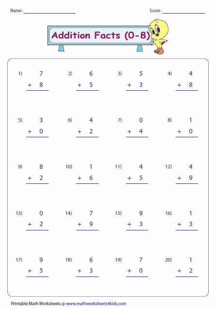 Practice The Facts For The Range Of Addends. Math Fact Worksheets, Math  Facts, Addition Facts