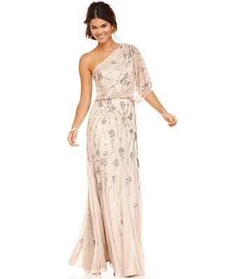 Short One Shoulder Beaded Gown